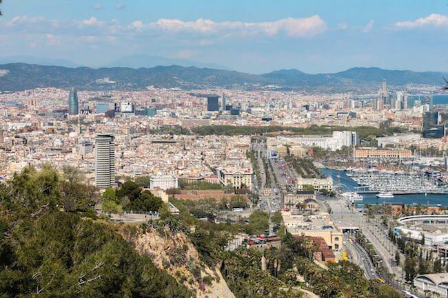Aussicht vom Montjuic auf Barcelona