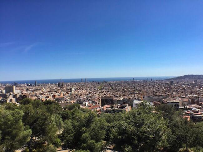 Aussicht Barcelona vom Park Güell aus