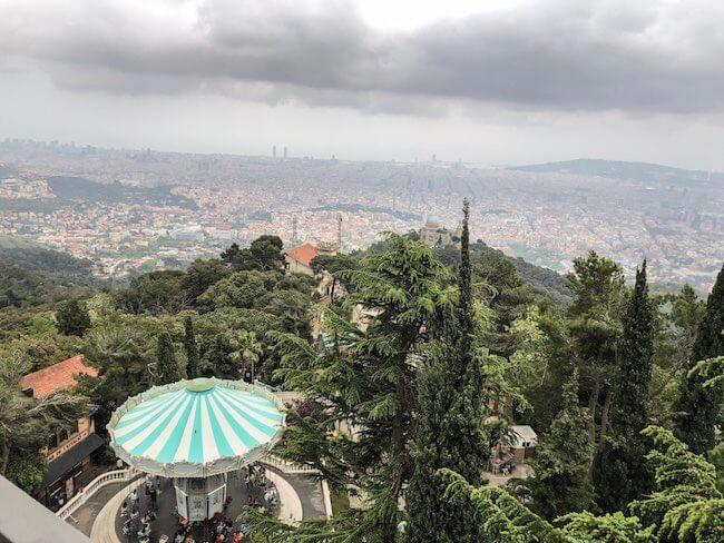 Ausblick vom Tibidabo auf Barcelona