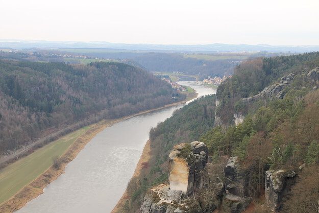 Bastei Elbtal Blick Richtung Dresden