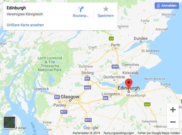 Kartenausschnitt Edinburgh Google Maps