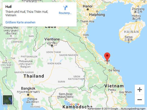 Kartenausschnitt Google Maps Hue Vietnam