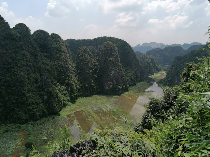 Blick von Hang Mua auf das Wasser und die Reisfelder von Tam Coc