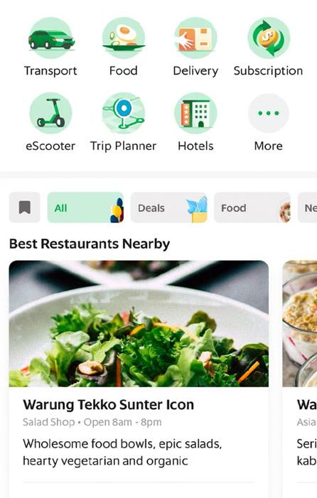 Dashboard und Hauptmenü der Grab App