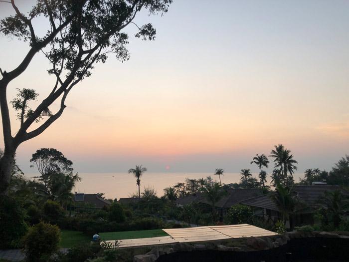 Ausblick Sonnenuntergang vom Hotel aus