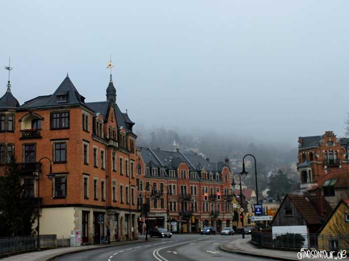 Loschwitz mit dem Körnerplatz im Nebel