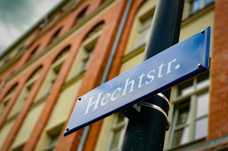 Hechtstraße Straßenschild im Hechtviertel