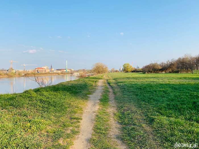 Laufstrecke am Sportpark direkt an der Elbe