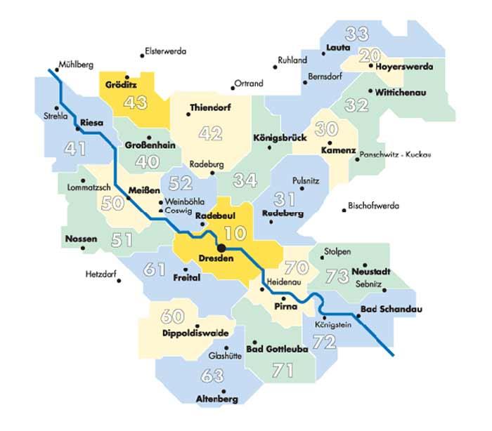 Tarifzonen vom Verkehrsverbund Oberelbe