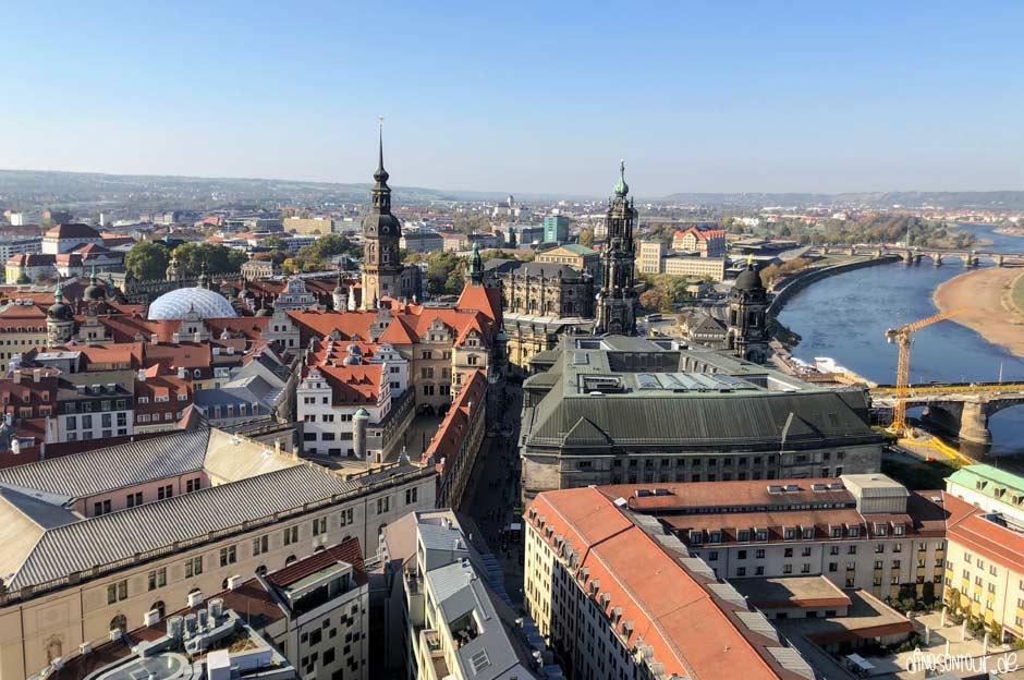 Ausblick Frauenkirche auf die Altstadt Dresden