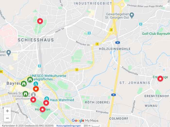 Google Maps Sehenswürdigkeiten in Bayreuth
