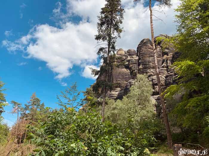 Ausblick beim Schrammsteintor auf Schrammsteine