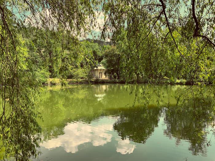 Chinesischer Garten in Schloss Pillnitz mit Blick auf den Pavillon