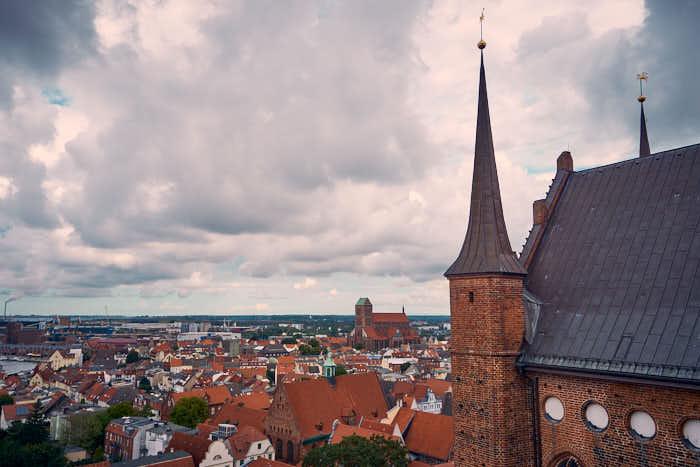 Wismar Blick von oben auf St.-Nikolai-Kirche