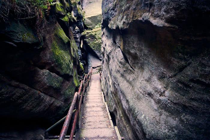 Bequemer Abstieg vom Pfaffenstein