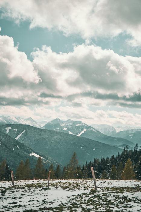Bachlalm Blick auf die Alpen