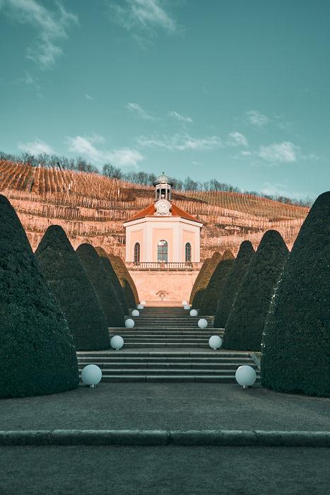 Belvedere Schloss Wackerbarth Buchsbaum Kegel