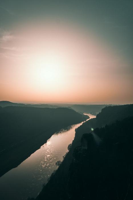Bastei Sonnenuntergang Elbe
