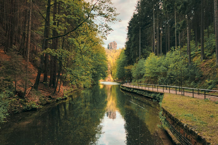 Amselsee Blick auf Talwächter Sächsische Schweiz