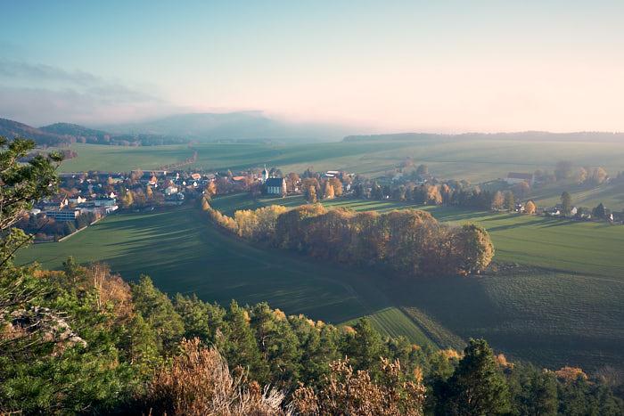 Papstdorf Blick vom Papststein in der Sächsischen Schweiz