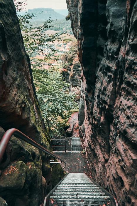 Pfaffenstein Aufstieg Blick nach unten
