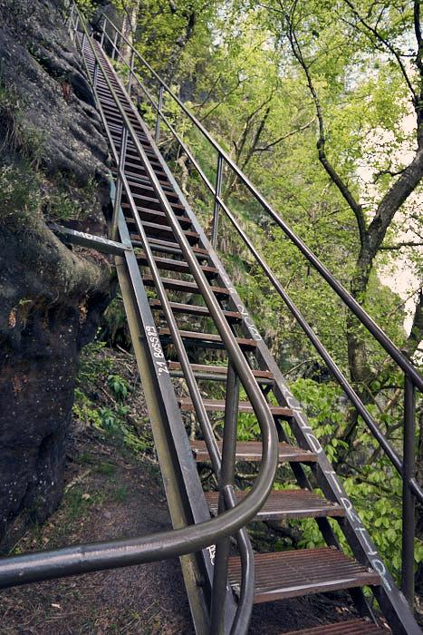 Lilienstein Aufstieg Nordseite Metalltreppe