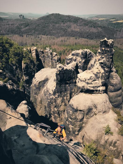 Häntzschelstiege Felsen Klettern