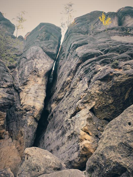 Häntzschelstiege Felsspalte Oberer Abschnitt