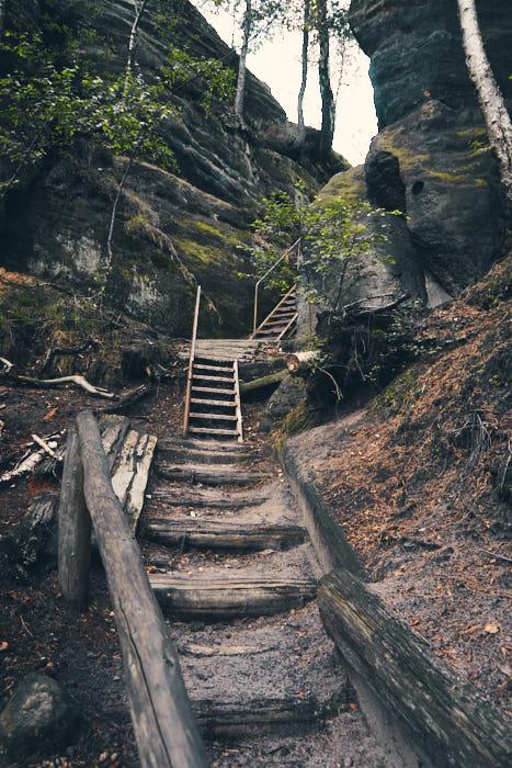 Zurückesteig Treppenstufen