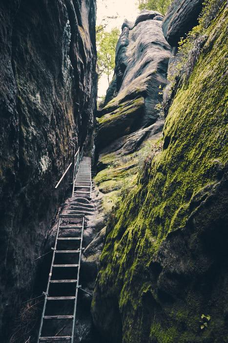 Aufstieg und Treppen Wildschützensteig