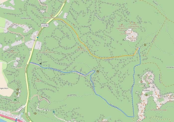 Wanderrouten Falkenstein Karte
