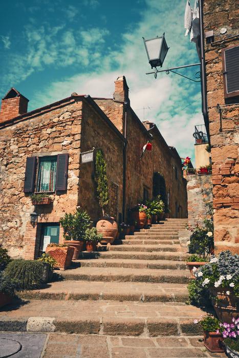 Malerische Gassen Pienza in der Toskana